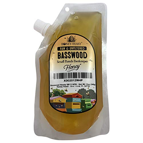 Honey Feast - Raw Basswood Linden Honey | from American floral sources | Unfiltered & Pure | Fresh from Florida Superfood | 12 Ounce squeeze pouch | Local honey to Chicago Illinois and Wisconsin