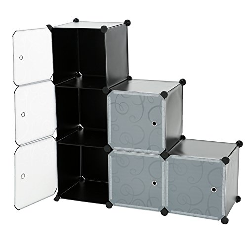 C&AHOME - 6 Cube DIY Closet Organizer Media Storage Cabinet Toy Rack Bookcase Shelf with Doors and Magnetic Locks, Black ()