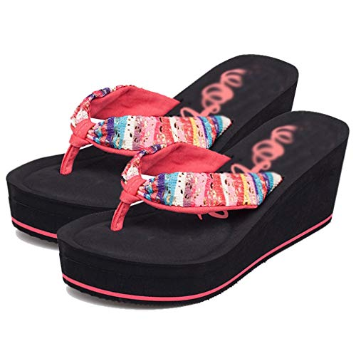 Flip Bottom Flip Pink Flops Thick Color With Beach Summer 37EU Flops Heel AMINSHAP Women's Cake Sponge PINK Sandals Fashion High Size Slope Slippers xZwaE