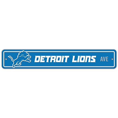 Lions Street Sign - Fremont Die NFL Detroit Lions Unisex Plastic Street Signplastic Street Sign, Blue, One Size
