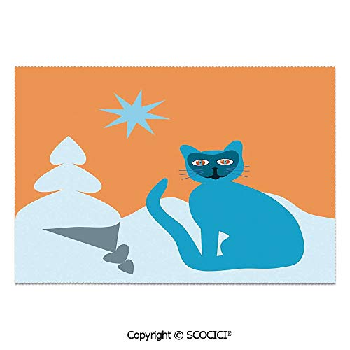 SCOCICI Set of 6 Printed Dinner Placemats Washable Fabric Placemats Cat with Racoon Mask in Snow Scenery with Spruce Under Sky with Star Art for Dining Room Kitchen Table Decoration]()