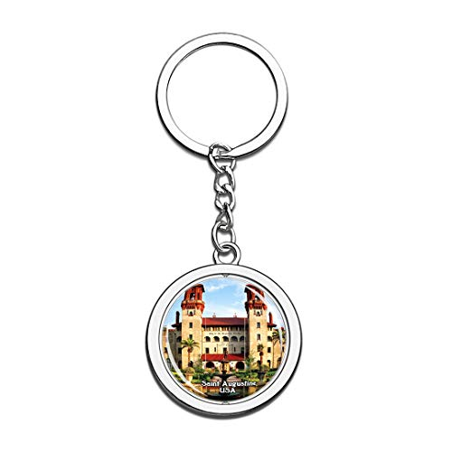 Keychain Lightner Museum Saint Augustine United States USA US Keychain Crystal Spinning Round Stainless Steel Keychains Souvenir Key Chain Ring