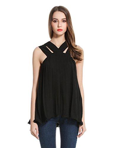 NiSeng Mujeres Verano Gasa Casual Color Sólido Suelto Irregular Del Dobladillo Escotado Por Detrás Sin Mangas Camisetas Top Negro