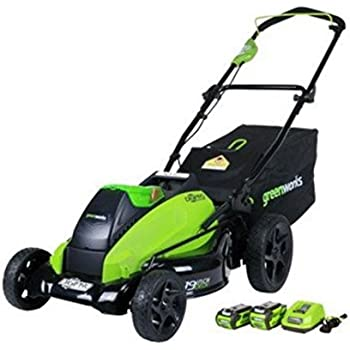 Greenworks 19-Inch 40V Brushless Cordless Lawn Mower, 4.0 AH & 2.0 AH Batteries Included 2500502