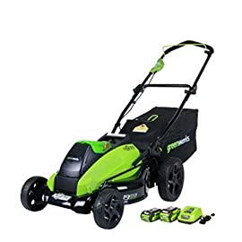 GreenWorks 19-Inch 40V Cordless Lawn Mower with Extra Blade 82 7-position single lever height adjustment offers range from 1-1/4 inch to 3-1/2 inch cut height 19-inch steel deck offers with 3-in-1 design offers rear bagging, side discharge and mulching capability Includes a 4AH and 2AH 40V Li-Ion Battery and Charger, Compatible with models 29462, 29472 and 29482