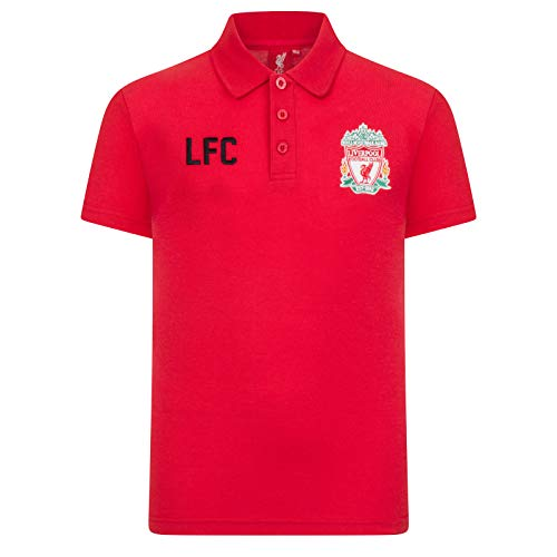 Liverpool FC Official Soccer Gift Boys Crest Polo Shirt Red 8-9 Years MB