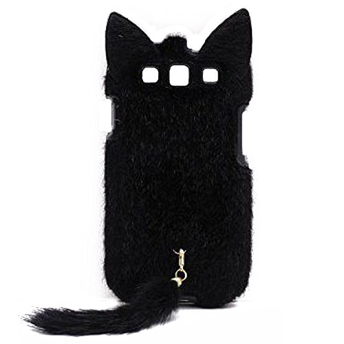 OOOUSE 3D Cute Fluffy Tail Cat TPU Case Cover Skin for Samsung Galaxy S3 i9300 Black (Galaxy S3 Skins)