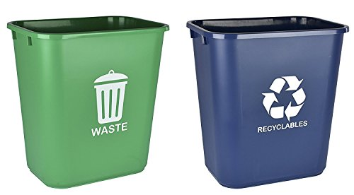 (Acrimet Wastebasket for Recycling and Waste 27QT (2 Units) (Green and Blue))