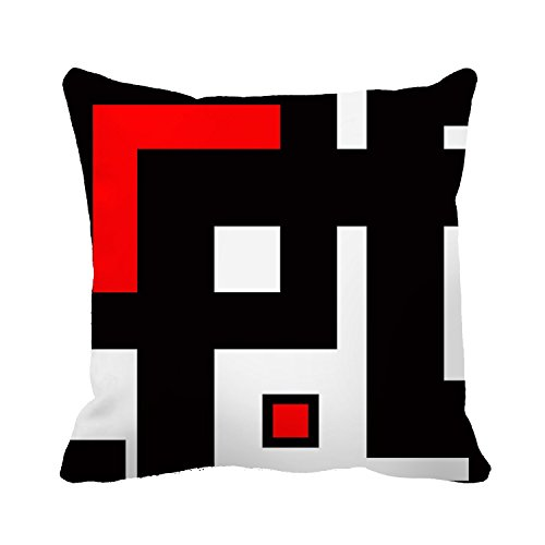 DKISEE Black White and Red Geometric Pattern Decorative Cushion Cover Pillowcase for Sofa Couch Chair Seat 18