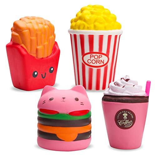 BeYumi Slow Rising Toy, Kawaii Hamburger, Fries, Pineapple, Popcorn, Drinks Set Meal Squishy Cream Scented Decompression Squeeze Toys for Collection Gift, Decorative Props Large or Stress -