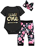 Baby Girls Floral Outfit Set Wild One Short Sleeve Bodysuit with Headband
