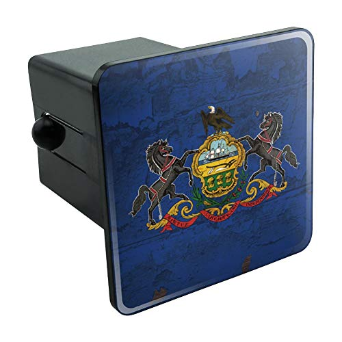 Plastic Hitch Plug - Graphics and More Rustic Pennsylvania State Flag Distressed USA Tow Trailer Hitch Cover Plug Insert 2
