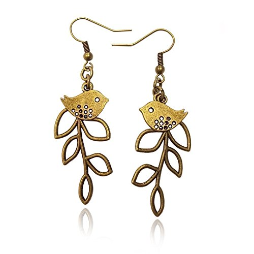 Bird and Branch Unique Tree Leaf Earrings, Bronze Tone Statement Fishhook Dangle Womens Earring Set