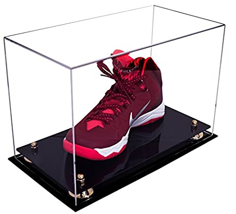 Deluxe Clear Acrylic Large Shoe Display Case for Basketball Shoes Soccer Cleats Football Cleats with Gold Risers - Large Display Case