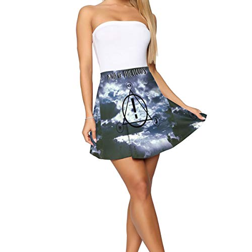 (PSnsnX Panic! at The Disco King of The Clouds Women Girls Basic Versatile Stretchy Flared Casual Mini Skater Skirt White)