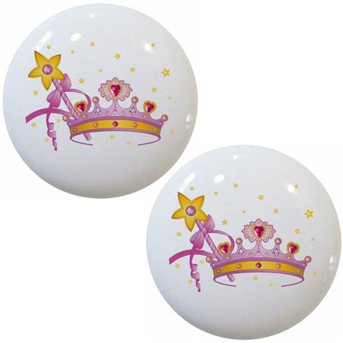 Set of 2 Crown Magic Wand Ceramic Cabinet Drawer Pull Knobs ()