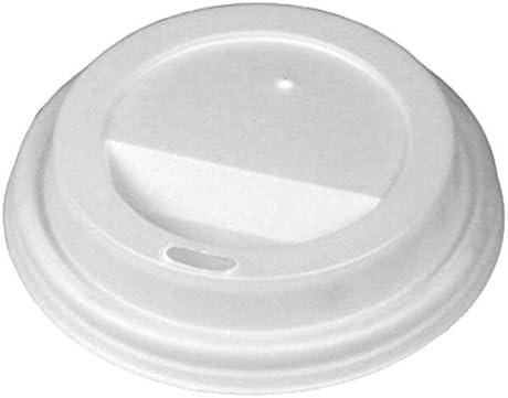 Biopac Disposable PLA Coffee Cup Sip Lids White for 8oz Coffee Cups Set of 100 Disposable Lids