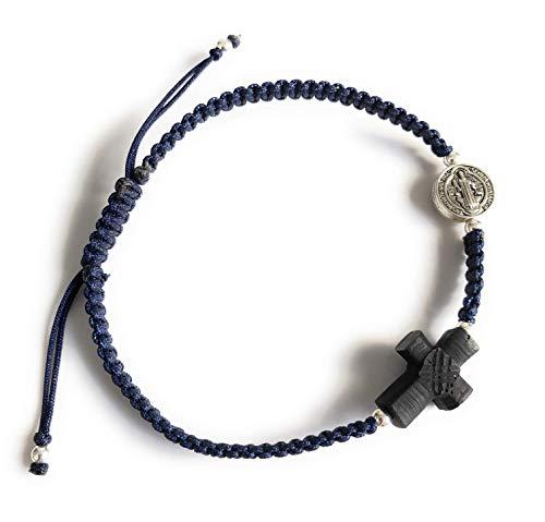 Spiritual Empowered Real Azabache Cross Saint Benedict Protection Bracelet for Men