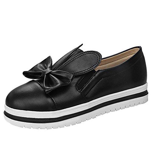 Mee Shoes Damen flach mit Schleife Geschlossen Slipper Schwarz
