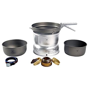 Trangia – 25-7 Ultralight Hard Anodized Camping Cookset Includes Alcohol Stove, 2 HA Pots, HA Frypan, Upper Lower Windshield, Pot Gripper, Strap