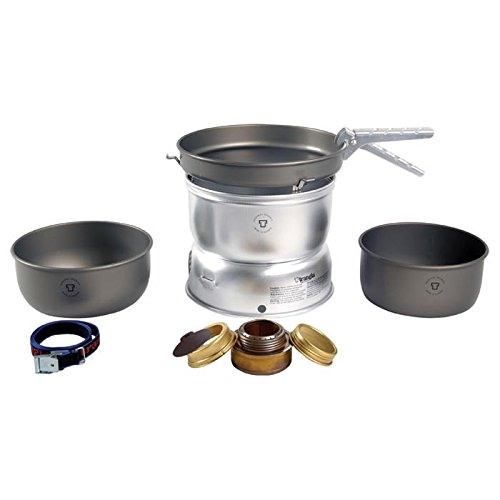 Trangia - 25-7 Ultralight Hard Anodized Camping Cookset | Includes: Alcohol Stove, 2 HA Pots, HA Frypan, Upper & Lower Windshield, Pot Gripper, & Strap