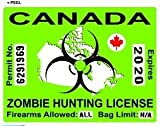 Canada Canadian Zombie Hunting License Permit Green - Biohazard Response Team - Window Bumper Locker Sticker