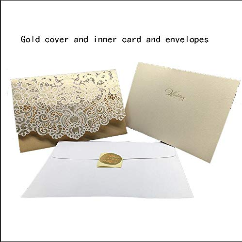 1pcs Gold Red White Laser Cut Luxury Flora Wedding Invitations Card Elegant Lace Favor Envelopes Wedding Party Decoration ()