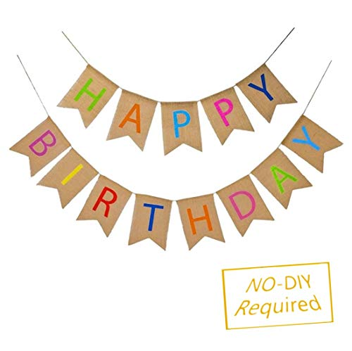 Happy Birthday Burlap Banner Alpheabt Birthday Party Decorations Swallowtail Bunting Flag Garland TD069A]()
