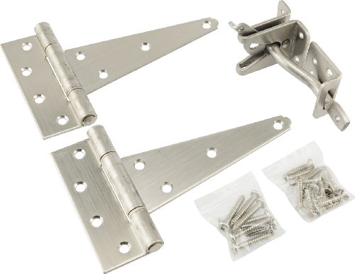 Hillman Gate Group Hinges (The Hillman Group 853371 Gate Hardware Kit- Stainless Steel 1-Pack)