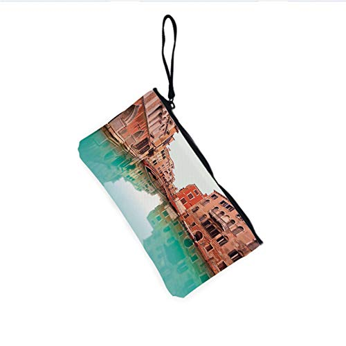 Canvas Coin Purse Zipper Coin Holder Mini Wallet Bags Cosmetic Makeup Bags,Typical Venetian Architecture Buildings and a Boat