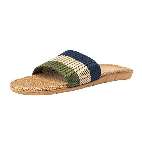 Haisum 8821-m - Zapatillas de estar por casa de Lino para hombre Azul
