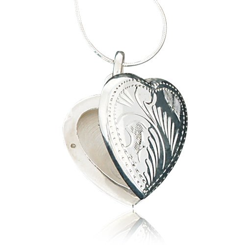 Sterling Silver Mom Heart Locket (925 Sterling Silver Engraved Heart Love Locket Pendant Necklace, 18 inch Snake Chain)
