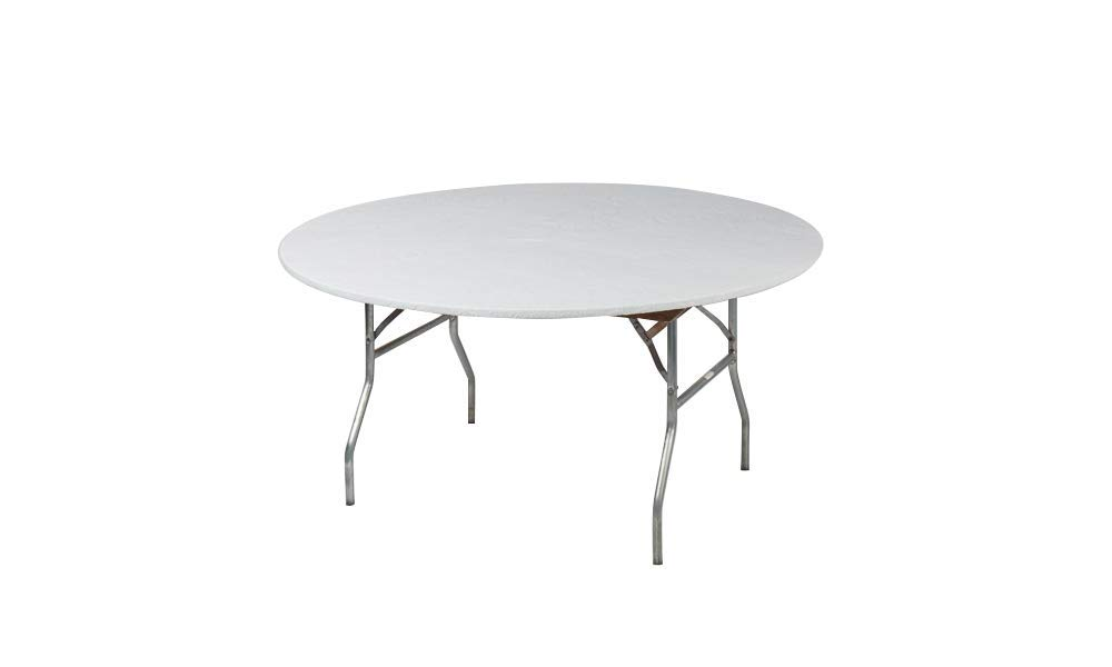 Kwik-Covers 60'' Round Fitted Plastic Table Covers, Bundle of 5 (White)