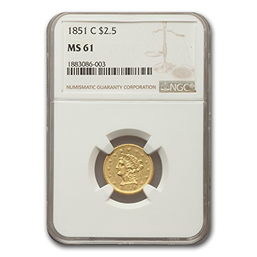 1851 C $2.50 Liberty Gold Quarter Eagle MS-61 NGC $2.50 MS-61 NGC