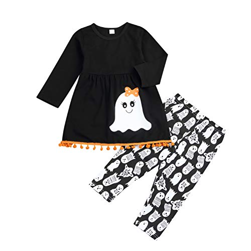2PC Kids Toddler Baby Girls Cute Halloween Bowknot Ghost Shirt Dress Ghost Leggings Pants Outfit Clothing Sets (Black, 2-3 T) -