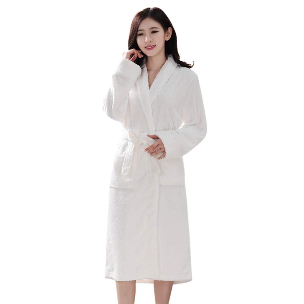 Clearance Sales Christmas Unisex Winter Plush Shawl Bathrobe Lengthened Thicken Kimono Robe Homewear Soft Sleepwear (A_White, XL)