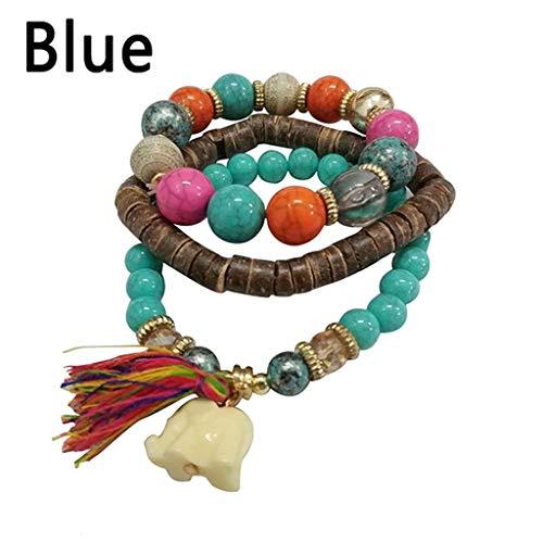 OWEGAI-80 Bracelet Women Multilayer Beads Bead Handmade Bracelets Florid Cool Multicolor Bracelet