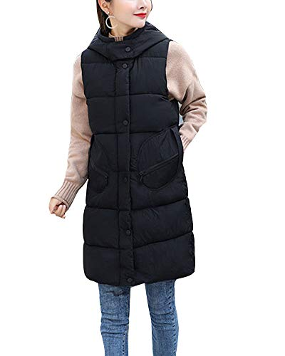 GladiolusA Women's Padded Gilet Sleeveless Jacket Coat Winter Puffer Quilted Warm Hooded Vest Black