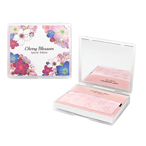 [varuza] Cherry Blossom Face Oil Blotting Paper Sheets with Makeup Mirror - Oil Absorbing Sheets (100 Count, Cherry Blossom)