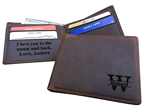 RFID Blocking Monogrammed Custom Real Leather Bifold Men's Wallet with Personalized Message Gifts for Boyfriend Husband Dads Anniversary Christmas - Gifts Message Custom