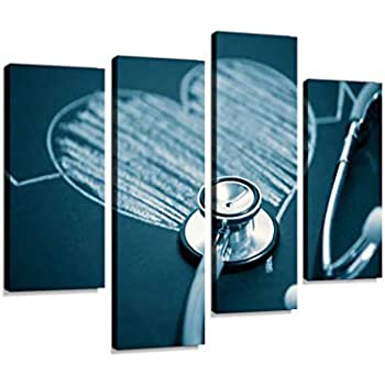 Stethoscope with a heartCanvas Wall Art Hanging Paintings Modern Artwork Abstract Picture Prints Home Decoration Gift Unique Designed Framed 4 Panel