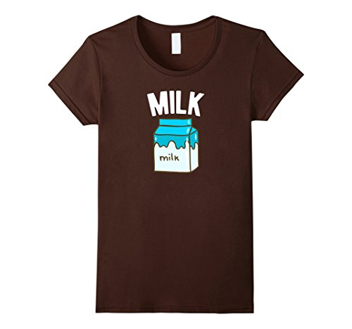 [Women's Milk & Cookies - Matching Pair Funny Halloween Costume Shirt Medium Brown] (Milk Woman Costume)