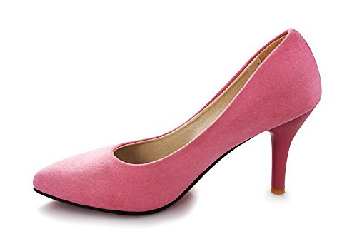 BalaMasa Womens Pointed-Toe Chunky Heels Low-Cut Uppers Suede Pumps Shoes Pink ELQ2jUrNY