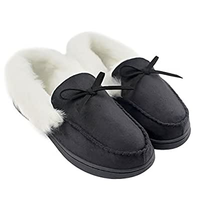 HomeIdeas Women's Faux Fur Lined Suede House Slippers, Breathable Indoor Outdoor Moccasins (6 B(M) US, Black)