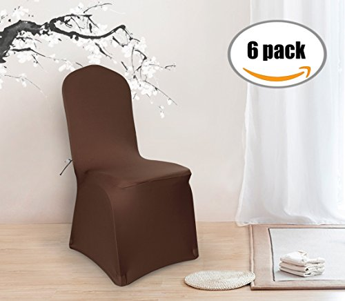 Deconovo Set of 6pcs Brown Color Stretch Chair Covers Spandex Dining Chair Cover for Wedding Banquet Party