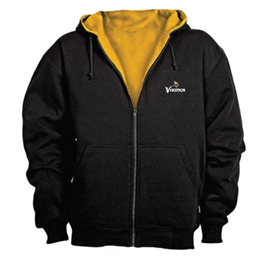 (NFL Minnesota Vikings Craftsman Full Zip Thermal Hoodie, Black/Gold, 5X)