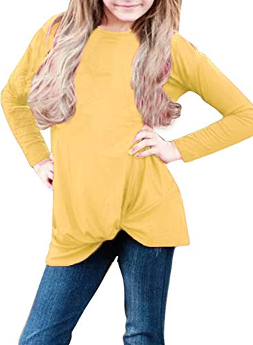 Bulawoo Girls Casual Long Sleeve Tops Blouse Solid Color Knot Front Cute T Shirts Birthday Shirt Fashion Outfits, Yellow1, XX-Large/12-13 Years