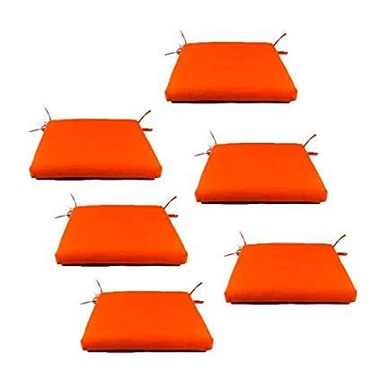 Edenjardi Pack 6 Cojines Para Sillas De Jardin Color Naranja