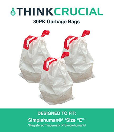 30PK Durable Garbage Bags Fit Simplehuman Size E, 20L / 5.2