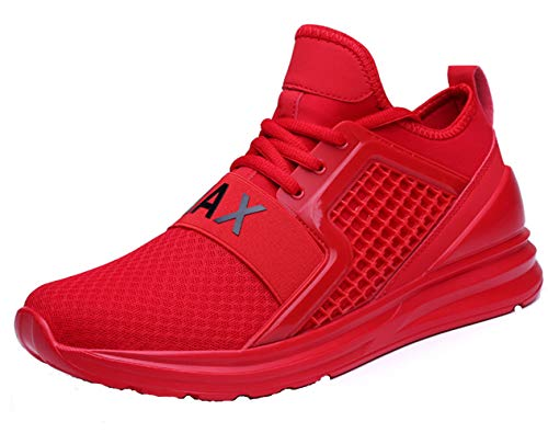 (TSIODFO Walking Sneakers for Men Breathable Comfort Fashion Casual Sport Trail Running Shoes Youth Big Boys Gym Workout Tennis Shoes Plus Size Sport Jogging Sneakers Red 12 (7058-Red-46))